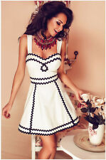 Fashion Condole Belt Sleeveless Low-cut Black Lace Slim Waist Women White Dress
