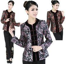 Red purple Chinese Women's silk embroidery jacket /coat Sz: 8 10 12 14 16