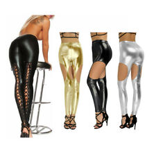 Womens Ladies Skinny Stretch Wet Look Lace Up Black Leather Trousers Leggings