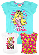 Girls Official Barbie Short Sleeved 100% Cotton T-Shirt New Kids Tops 2-8 Years