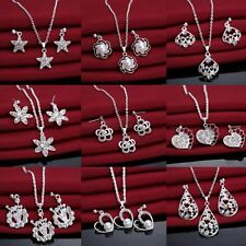 New Fashion Women Crystal Rhinestone Necklace Earrings Wedding Party Jewelry Set