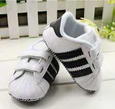 Toddler Baby Boy Girl White Soft Sole Crib Shoes Infant Sneakers 0-18 Months BB0
