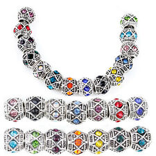 Multi Crystal Spacer Tribal Octagon Geometric Aztec European Charm Bead Bracelet