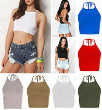 NEW WOMENS LADIES CASUAL SLEEVELESS BASIC HALTER NECK CROP TOP GIRLS SEXY VEST