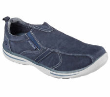 64635 Navy Skechers Shoes Men Slipon Memory Foam Soft Woven Canvas Fabric Loafer