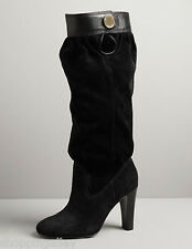 Brand New MICHAEL KORS Harness Suede TALL Slouch Knee High BOOTS Heels Shoes Blk