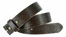 BELT - Brown Western Flower Design Full Grain Leather Snap On Belt - NO BUCKLE