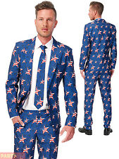 Mens Stars & Stripes Suitmeister Novelty Suit Adult USA Fancy Dress Stag Costume