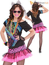Ladies 1980s Rock Girl Costume Adults 80s Neon Fancy Dress Retro Party Outfit