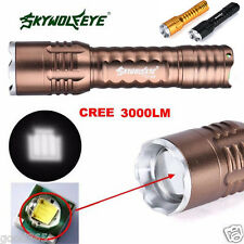 3000LM 3 Modes CREE XML T6 LED 18650 Flashlight Torch Lamp Zoomable Focus Light
