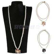 Charm Double Layer Fashion Camellia Flower Pendant Faux Pearl Necklace Women