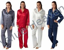 Ladies Summer Satin Pyjamas w Lace Rounded Penny Collar Navy Blue Grey White Red