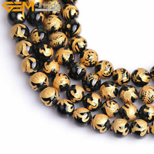 "Black Agate Onyx Beads For Jewelry Making 15"" Carved Gold-plated 10mm 12mm 14mm"