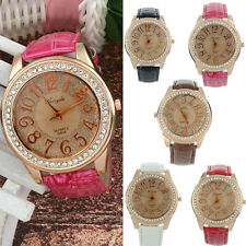 New Luxury Womens Leather Band Stainless Steel Crystal Analog Quartz Wrist Watch