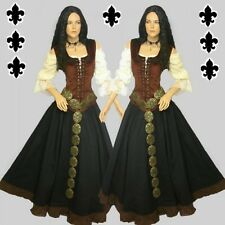 Medieval Gothic Dress Garment 3-piece set Blouse Bodice Skirt black brown or red