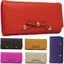 Fashion Womens Faux Leather Designer Bow Long Purse Ladies Wallet Coin Purse Hol