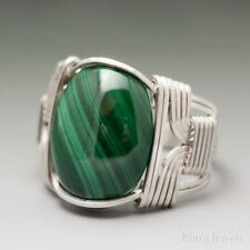 Malachite Sterling Silver Wire Wrapped Cabochon Ring