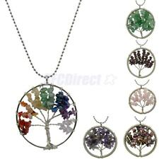 Natural Crystal Gemstone Chakra Healing Tree of Life Pendant Chain Necklace