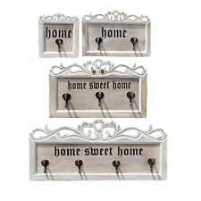 Vintage Wooden Chic Coat Hanger Wall Hooks Holder Rail White Home Sweet Home GT