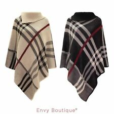 WOMENS LADIES CHECKED KNITTED WINTER PONCHO RED BAND WRAP SHAWL CAPE ONE SIZE