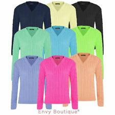Womens Ladies Plain Chunky Cable Knitted V Neck Long Sleeve Top Knitwear Jumper