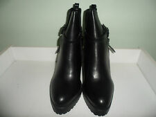 Womens Ladies Black Mid Wedge Heel Buckle Shoes Ankle Boots Size UK 7,8 New