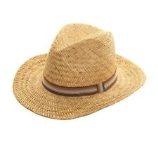 Mens Hat Straw Fedora Hat Wide Striped Band Free post