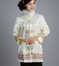 White Chinese Women's silk embroidery jacket /coat Cheongsam Sz:M L XL XXL XXXL