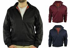 Mens Classic Tartan Harrington Scooter Bomber Retro Mod Zip Jacket Coat S-XL