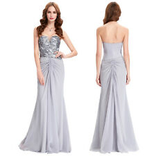 New Bridesmaid Prom Ball Gown Formal Evening Party Cocktail Long Maxi Dress Grey