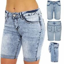 Womens Blue Denim Jeans Knee Length Summer Mid Rise Turn Up Shorts Trousers