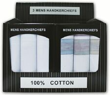 New Men's Quality 100% Cotton Hankies Display Gift Box 3 Handkerchiefs Christmas