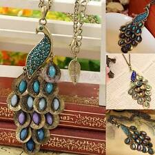 Fashion Bronze Style Peacock Blue&Green Crystal Chain Pendant Necklace BB
