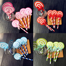 6pcs  Lollipop Cake Cupcake Topper Shower Party Picks Birthday Cake Decor QW