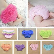 Toddler Baby Bloomers Panties Girls Cotton Lace Ruffle Nappy Diaper Cover 0-12M