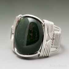 Bloodstone Heliotrope Sterling Silver Wire Wrapped Cabochon Ring