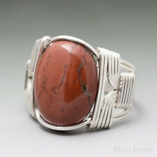Red Jasper Sterling Silver Wire Wrapped Cabochon Ring