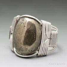 Pyrite Sterling Silver Wire Wrapped Cabochon Ring