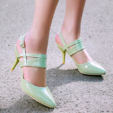Womens Pointy Toe Buckle Patent Party High Heel Slingbacks Pumps Shoes Plus 10