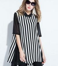 New Women lady Black White Striped Asymmetric Hem Evening Cocktail Party dress