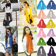 Popular Women Soft Pure Multi Color Wraps Shawl Stole Soft Long Crinkle Scarf