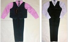 Andrew Fezza Boys 4-Piece Pinstripe Dress-up Set - Vest, Pants, LS Shirt and Tie