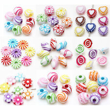 Colorful Acrylic Loose Spacer Bead Charms Bracelet Jewelry DIY Various Styles