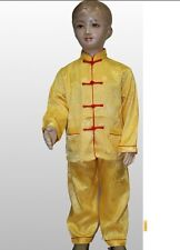 Chinese Boy's silk Kung Fu Shirt Pants Suit Yellow 2-16
