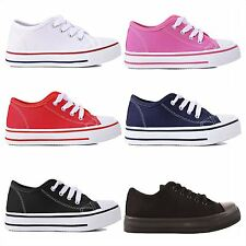 Childrens Infants Girls Boys Lace Up Canvas Plimsoll Trainers Flat Shoes Size