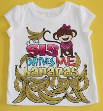 Childrens Place Baby Girl Graphic Tee Shirt My Sis Drives Me Bananas Size 6 9 M