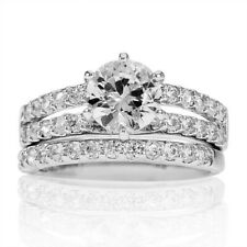 Rhodium Plated Round CZ Engagement Wedding Ring Set   SZ 6 - 9