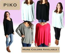 PIKO T2898 Authentic Bamboo Long Sleeve V-Neck Oversized Top - S M L