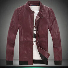 NEW Stylish Slim Fit Long Sleeve Stand Collar Motorcycle PU Leather Jackets Coat