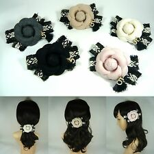 Big Large Camellia Rose Flower Tassel Tweed Bow Barrette Hair Clip Pin Accessory